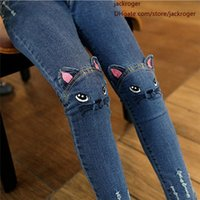 Wholesale Cute Cartoon Pattern Kids Jeans Winter Autumn Lovely Cat High Quality Children Pants Casual trouses Baby Girls Jeans