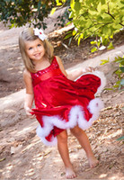 Wholesale Baby girl kids Dress Christmas costumes Clothes infant Princess solid party Red Paillette Tutu Dresses Xmas Sleeveless girl Clothing JQ