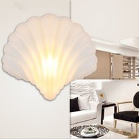 Wholesale Unique design Shell Shape Modern Led Indoor Wall Lamps Glass W Led Bed Lamp Stair Lighting Wall Sconce night light