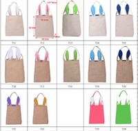 Wholesale 14 Styles Easter Bunny Ear Hand Bags Dual Layer Cotton Linen Jute Easter Egg Bags Carrying Eggs Gifts Handbag for Child Festival Gift