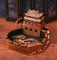 Wholesale noble wood carved Great Wall creative personality crafts living room Ashtray cm