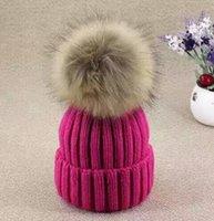 Wholesale Winter Fashion Beanie Classic Tight Knitted cm Fur Pom Poms Hat Women Cap Winter Beanie Headgear Headdress Head Warmer