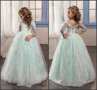Wholesale Mint Green Lovely Girl s Pageant Dresses New Illusion Long Sleeve V Back Princess Kids First Communion Gowns Child Cute Party Dresses