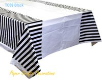 Wholesale cm quot quot Black Striped Plastic Tablecloths Table Cover Themed Birthday Party Decorations