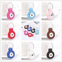Wholesale 3 cm Zinc Leather Snap button pendant Keychains fashionable multi color optional DIY Noosa Key chain Car Keyring Accessories Components