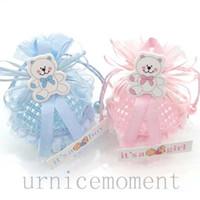 achat en gros de filles sac cadeau d'anniversaire-New Arrivée-24pcs Bleu / Rose Couleur Fils Basket Candy Box Boy Garçon Sacs Cadeaux Fête Anniversaire Fête Décorations Fournitures
