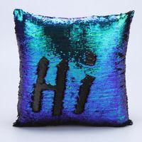 Wholesale Mermaid Sequin pillow magical color changing reversible sequin throw pillow Home Decor Cushion Decorative Pillowcase