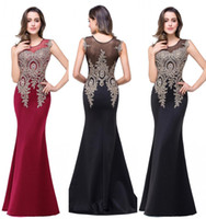 Wholesale 2016 Sheer Cap Sleeves Mermaid Prom Dresses Lace Crystal Beaded Full Length Satin Sexy Long Evening Gowns Vintage Cheap Formal Party Gowns