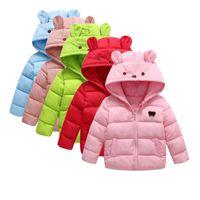 baby down duvet - Children s hooded down jacket short paragraph jackets baby thin cotton duvets fertile warm jacket children