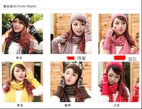 Wholesale Scarf for men s and women s autumn winter Han edition collar wool pure color snowflakes three piece suit The scarf hat glove Warm suit