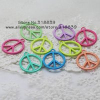 Wholesale Light Color Enamel Mixed Zinc Alloy Round Peace Sign Charms Diy Jewelry Pendant Charms Making mm