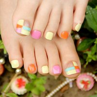 acrylic nail tips for sale - Acrylic Lady False Nails for Toe Fake Carnival Candy Color Grid Toes Hot Sale