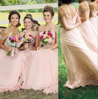 Wholesale 2016 Cheap Light Pink Chiffon Maid Of Honor Gowns Straps Off the Shoulder Beading Crystals Zipper Back Bridesmaid Dresses CPS263