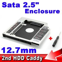 SATA al por mayor caliente a SATA 12.7mm Aluminio 2do SSD HDD HD disco duro del conductor Caddy caso externo CD DVD-ROM Bahía óptica para el ordenador portátil
