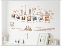 Wholesale Removable global travel wall art decal stickers worldwide famous building home decor Wall Sticker mural sweet memory Photo Frame wall mural