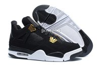 Wholesale 2016 New Retro IV Royalty S Black Gold White Mens Basketball shoes Men Sneakers Cheap For Sale Size US8