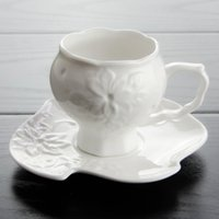 Wholesale Hand Crafted China Porcelain Tea Mug Ceramic Coffee Cup Set with Spoon and Saucer