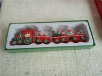 best looking models - Christmas Train Set Holiday Winter Santa s Express Vintage Look RARE Small Wooden Trains Cartoon Car Toys Best Christmas Gifts DHL Free