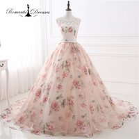 Wholesale Real Photos Pattern Organza Peach Color Ball Gown Prom Dresses Long Sleeveless Women Evening Party Gowns