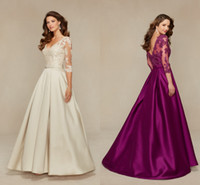 apple beige - 2017 The Latest Beige Satin Applique Long Sleeve Long A line Bridal Evening Dress V neck Tuxedo Flooring Length HY00273