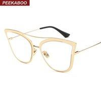 La nueva manera de Peekaboo enmarca los marcos atractivos de los vidrios del oro femenino del marco del metal del ojo de gato eyewear para los lunettes de moda de las mujeres