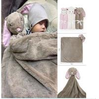 Wholesale Baby Bedding Blanket Rabbit Bear Elephant Animal Toy Head Soft Blanket Newborn g Swaddle Wrap76 cm Coral Fleece Plush Blankets KKA1399