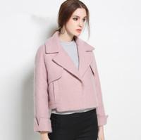 Wholesale Street style Wool Coat Women s Pink Color Woolen Jacket Autumn Winter Plus Size Fashion Office Outwear Female Tops Jacke