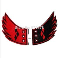 animated shoes - Harley Quinn Batman Villain patch Diamond Shoe Wings Gotham Joker Jester Suicide Squad Animated Embroidered Halloween