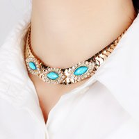 Wholesale 2017 new Arrive Natural Crystal Stone Tattoo Choker Necklace for Women Fashion Turquoise Beads Boho Gothic Jewelry Gift