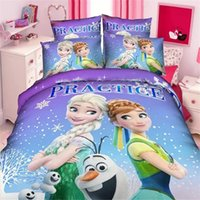 Wholesale snow queen girls bedding set duvet cover bed sheet pillow case twin single size bed linen set purple pink