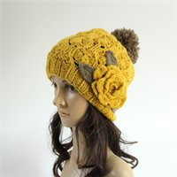 Wholesale 2017 Europe and the United States winter Ms big flower color handmade wool knitting hats