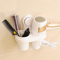 Wholesale ABS Plastic Wall Mounted Hair Dryer Drier Comb Holder Super Suction Cup Rack Stand Set Storage Organizer