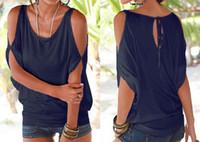 Las mujeres de verano de plumas T-shirts O-cuello sin tirantes camisas de hombro de manga corta T-shirt flojo tipo