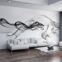 Wholesale Custom Photo Wallpaper Modern D Wall Mural Wallpaper Black White Smoke Fog Art Design Bedroom Office Living Room Wall Paper