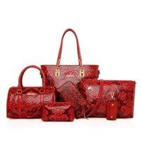 Nouveau sac en cuir composé de cuir d'épaule de sac de sac de sac à main de sac à main de Crossbody d'épaule + sac de messager + porte-monnaie + sac de support + boston 6 ensembles