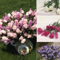 Wholesale Lovely Wedding Bridal Heads Lavender Rose Artificial Peony Silk Flowers Hydrangea Home Decor Flower Arrangement