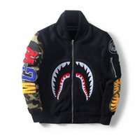 ape clothing - 2017 Autumn winter Shark mouth Jackets Baseball camouflage sleeve ture brand APE coat sweatshirts top mens designer clothes plus size XL
