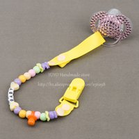 banana names - Personalised Any name Hand made funny yellow white beads banana dummy clip dummy holder pacifier clips soother chain for baby