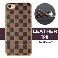 Wholesale Royal Slim Ultra Thin Grid Diamond Plating Electroplate Gilded Leather TPU Silicone Soft Back Case Cover Skin For iPhone Plus MOQ