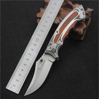 Wholesale High hardness steel and pakka wood handle outdoor survival knife tactical folding knife hunting knife outdoor survival camping tools FK A009