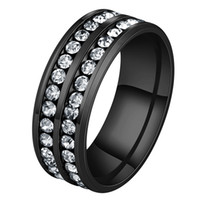 Wholesale New Designed Never Fade L Stainless Steel Engagement Ring Two Rows Black Crystal Ring For Wedding