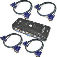Wholesale 4 Port USB KVM VGA SVGA Keyboard Mouse Monitor Switch Hub Box Selector Adapter with KVM VGA Cables for PC Keyboard Mouse Monitor