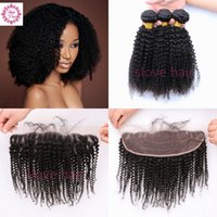Wholesale Brazilian Kinky Curly Virgin Hair Ear to Ear Lace Frontal Closure With Bundles A Human or Bundles With Lace Frontal Closure