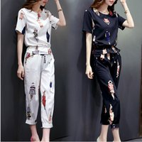 Wholesale summer style new women flower printed short sleeve T shirt shorts leisure women clothes set Korean female suit