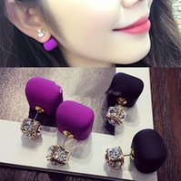 Wholesale Trendy Celebrity Candy colors Double Side Pearl Earrings Cubic Zicon Ball Earrings Crystal Ear Statement Jewelry