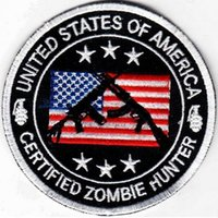 al por mayor zombi del punk-Los EEUU certificaron el permiso del CAZADOR del ZOMBI La película de MORALE bordó el hierro de la INSIGNIA en remiendo La puntada modificada para requisitos particulares del punky de Emo disponible