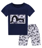 Summer activewear kids - 2017 Boys Childrens Clothing Sets Short Sleeve tshirts White Print Short Set Summer Cotton Toddler Kids Activewear Outfits