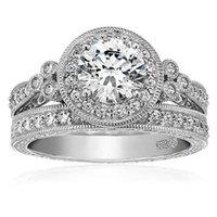 Venta al por mayor 925 de plata de ley de la Ronda de corte CZ diamante de diamantes anillos de joyería fija joyería de bodas de compromiso para las mujeres SZ 5-10