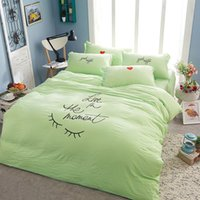 best hand embroidery - 2016 Best Selling Set Miss Eyelash Embroidery Washed Cotton Bedding Sheets Comforter Duvet Cover Sheet Sets Bedclothes Bed Linen