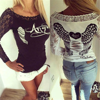 Wholesale New Womens Sexy Long Sleeve Lace Patchwork Angel Wings Print Hollow Out Back Sexy Slim Shirt Casual Ladies Tops